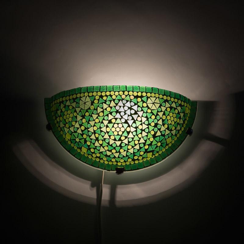 Oosterse mozaïek wandlamp halve maan - groen
