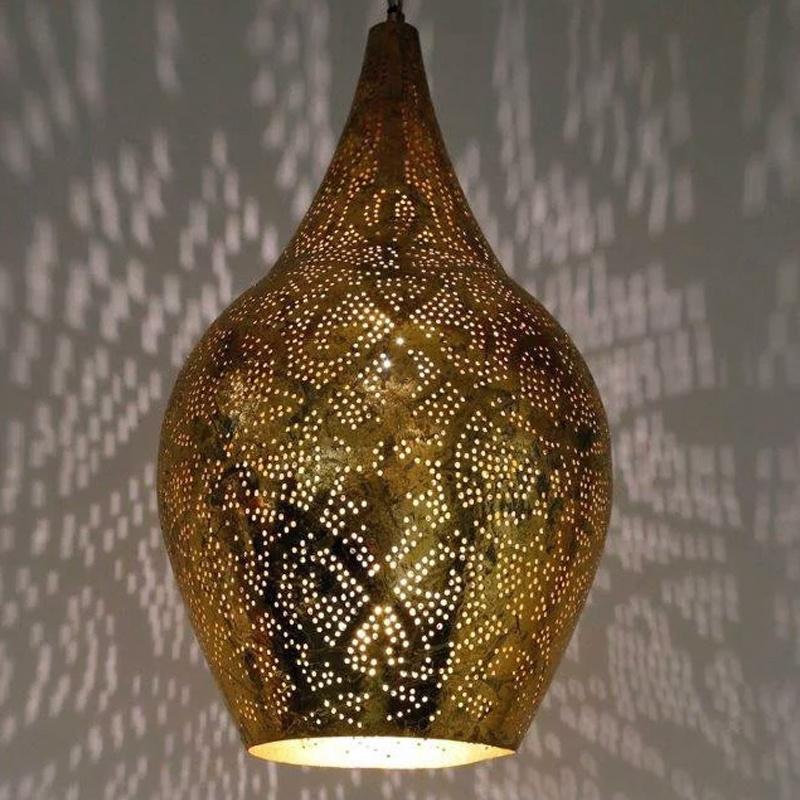 Hanglamp vaas filigrain vintage goud