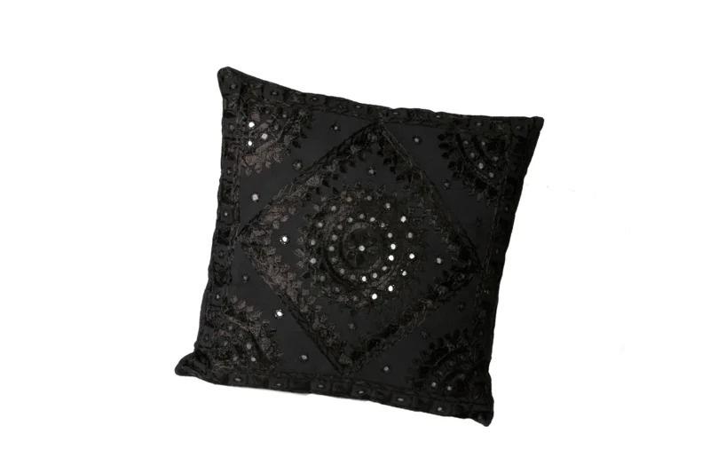 Oosters sierkussen Phenkana 50x50 cm. zwart