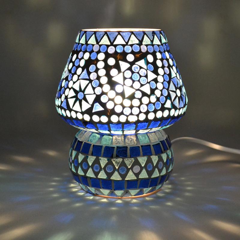 Oosters mozaïek tafellampje paddenstoel blauw.