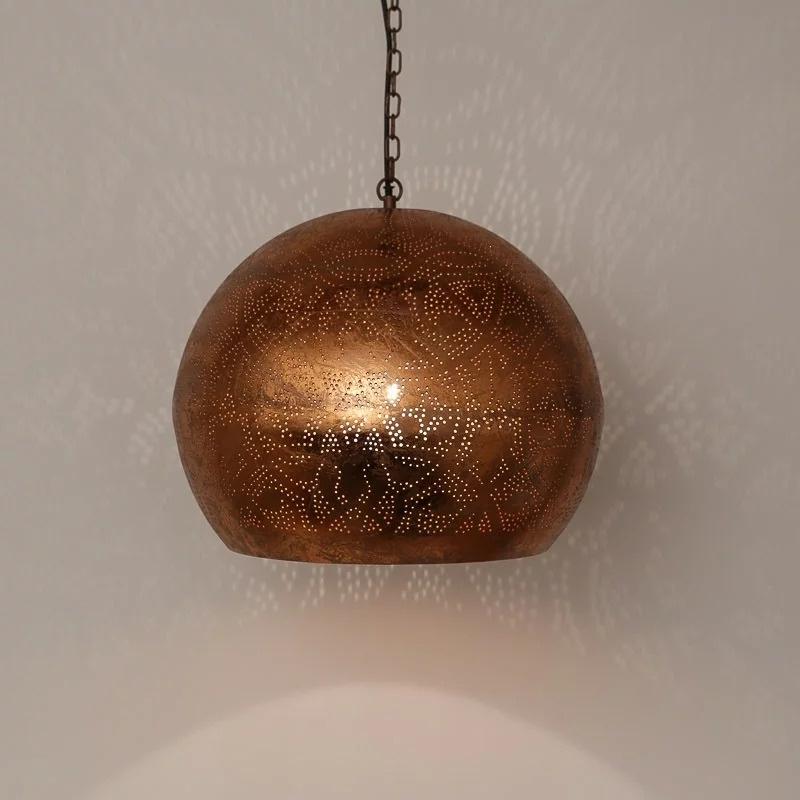 Oosterse hanglamp open onderkant - vintage koper