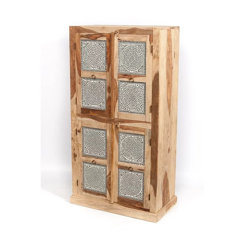 Oosterse kast 4 deuren - transparant mozaïek panelen.
