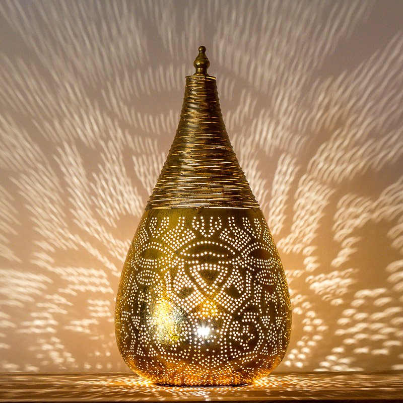 Oosterse filigrain tafellamp met draad - goud