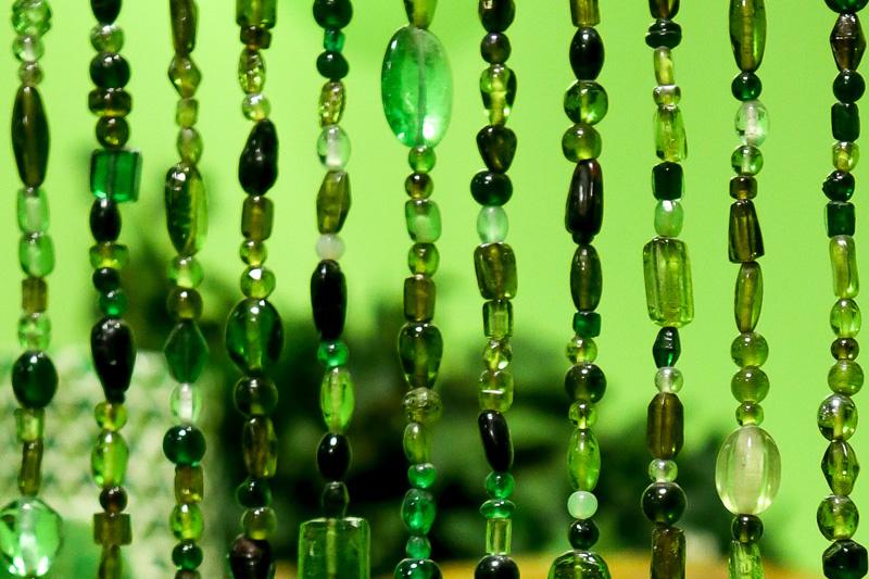 Vliegengordijn glaskralen groen