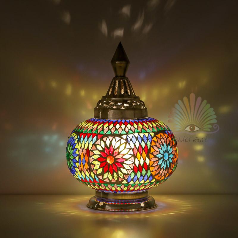 Oosterse mozaïek tafellamp pumpkin - multi color
