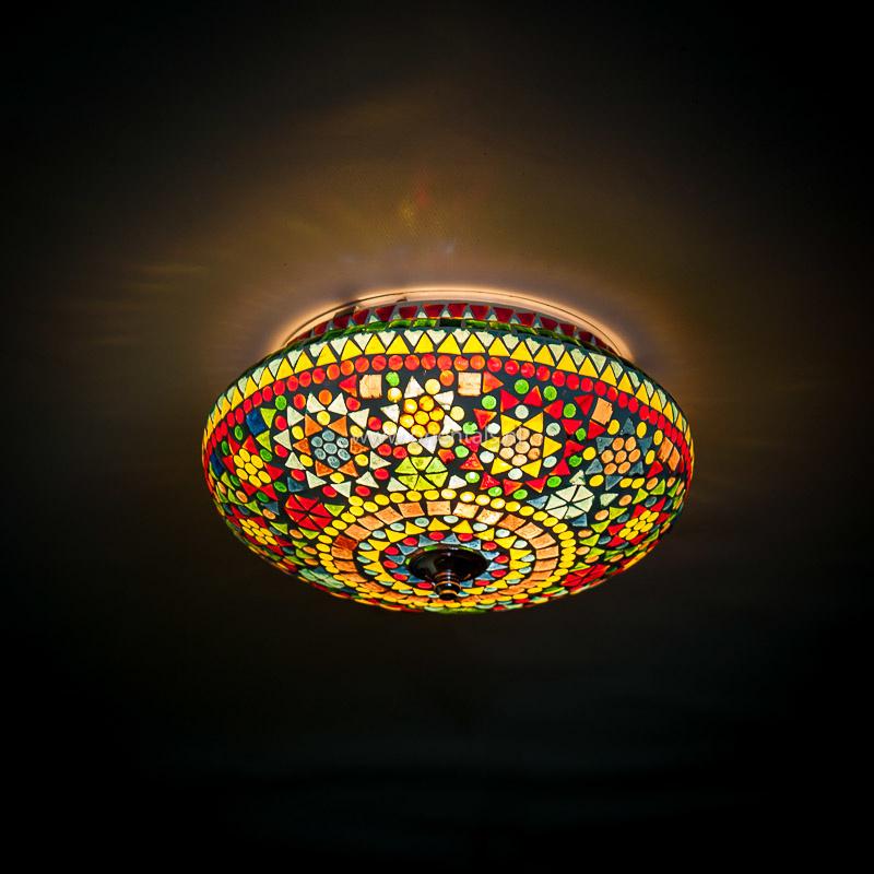 Plafondlamp mozaïek multi color - 25 cm.