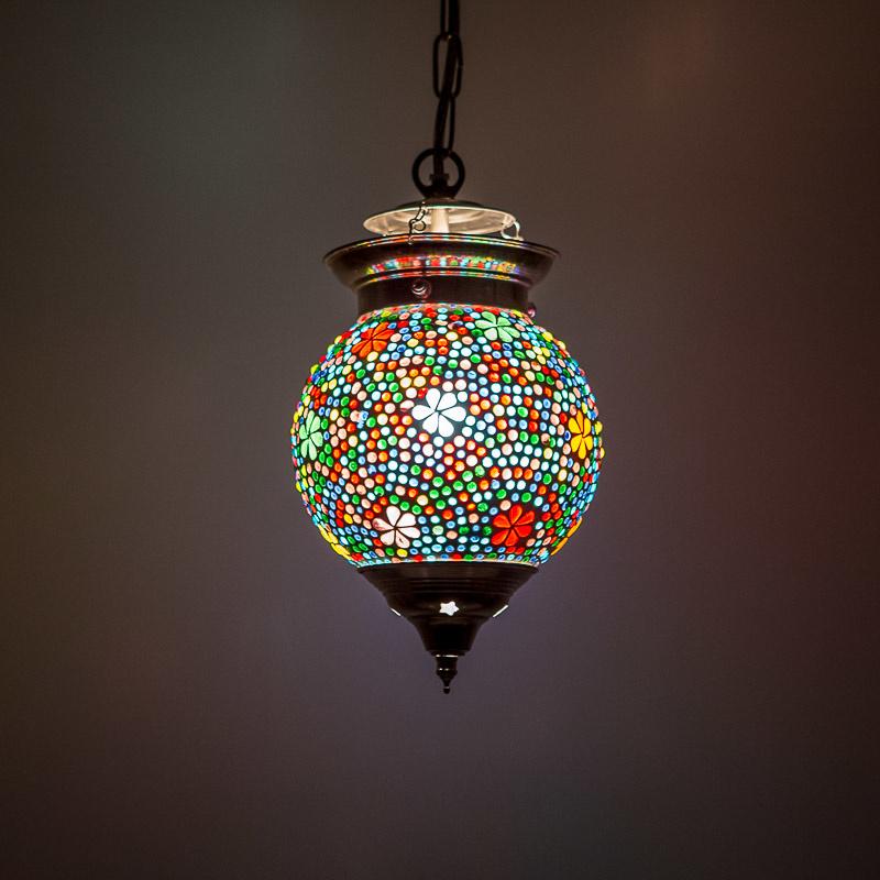 Oosterse hanglamp flower multi color mozaïek - 15 cm.