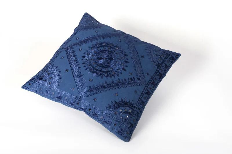 Oosters sierkussen Phenkana 50x50 cm. donkerblauw