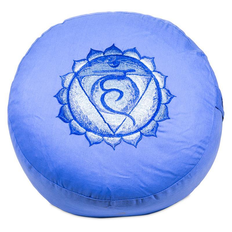 Meditatiekussen - poefje 5e Chakra licht blauw