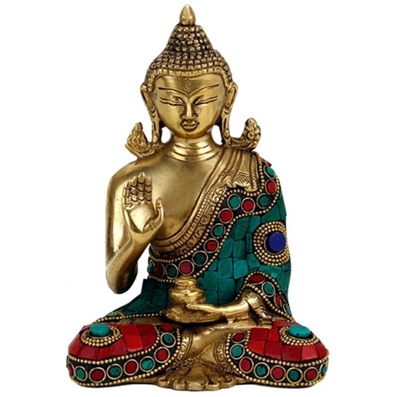 Goudkleurige Boeddha van hoogwaardig messing.