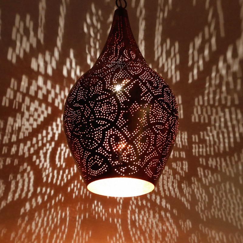 Hanglamp vaas filigrain vintage koper