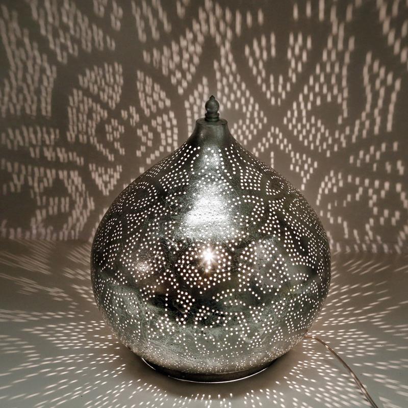Filigrain tafellamp oignon vintage zilver