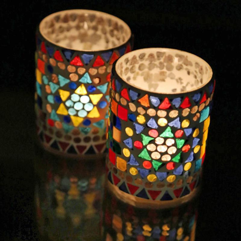 Waxinehouder cilinder multi color mozaiek. (set prijs)