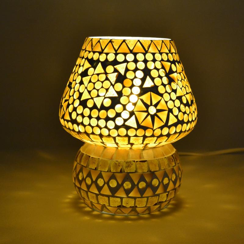 Oosters mozaïek tafellampje paddenstoel bruin-beige