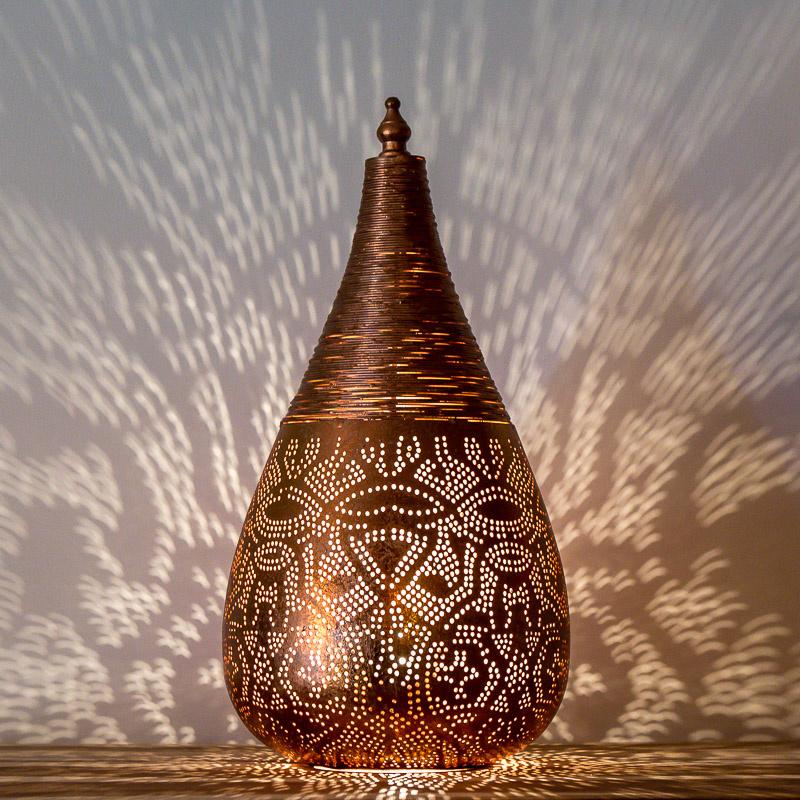Oosterse filigrain tafellamp met draad - koper