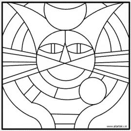 Inkleurkaart 'Kattenkop'