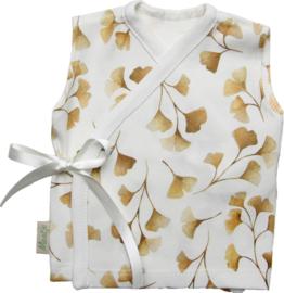 Prachtig overslag hemdje met digitale blaadjes print