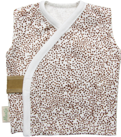 Overslag hemdje met stoere bruine stipjes