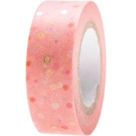 Washi tape stippen roze-goud