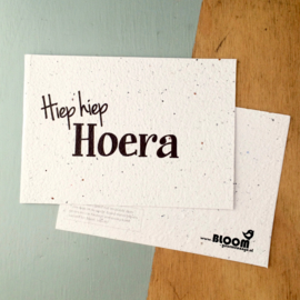 Bloeikaart BLOOM your message 'Hiep hiep hoera!'