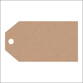 Kraftpapier label hoekig - groot