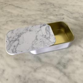 Metalen schuifdoosje marmer