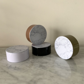 Metalen doosje met marmeren (metalen) deksel - rond
