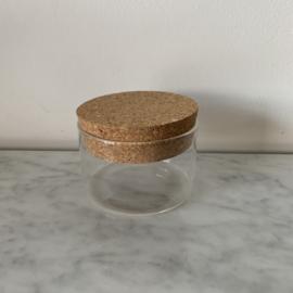 Glazen potje met kurken deksel - klein