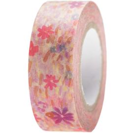 Washi tape weidebloemen roze