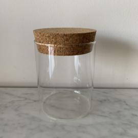 Glazen potje met kurken deksel - medium