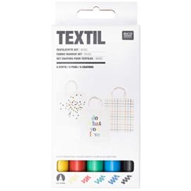 Textielstiften: set van 5 basiskleuren