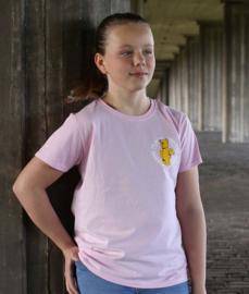 Pink Kids T-shirt WANNA PLAY Round Logo