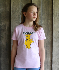 Kids T-Shirt Pink WANNA PLAY Only Front