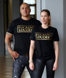 T-shirt MAKE IT FUCKING LOUDER Metallic Gold