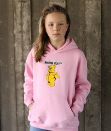 Kids Hoodie Pink WANNA PLAY Only Front