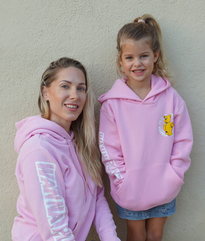 Pink Hoodie WANNA PLAY Round Logo
