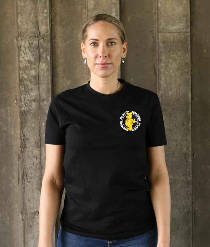 Black T-shirt WANNA PLAY Round Logo
