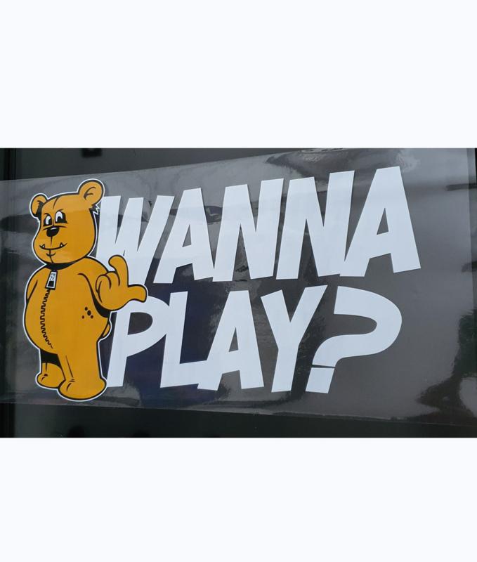 Transparent Window Sticker WANNA PLAY