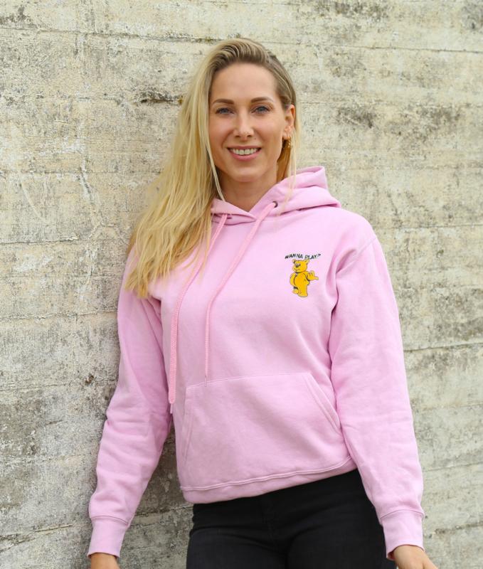 Pink Hoodie WANNA PLAY Small Logo
