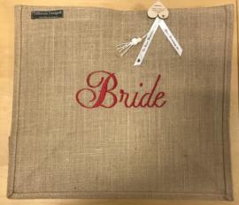 Jute tas L geborduurd met Bride in Rood