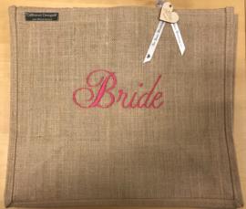 Jute tas L geborduurd met Bride in fuchsia roze