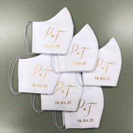 Mondkapjes met elastiek voor achter oor met gepersonaliseerde bedrukking