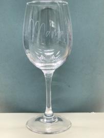 Wijnglas met geëtste  tekst fijn