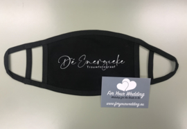 Mondkapjes met elastiek voor achter oor met gepersonaliseerde bedrukking midden