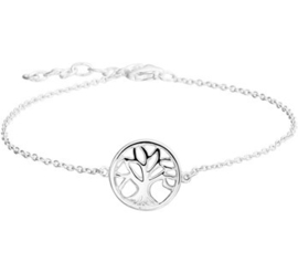 Gerhodineerd zilveren armband met levensboom