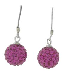 Zilveren hang oorbellen strass roze