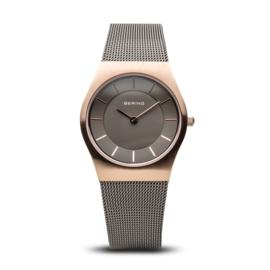 Bering horloge classic brushed rosé goud grijs 11930-369