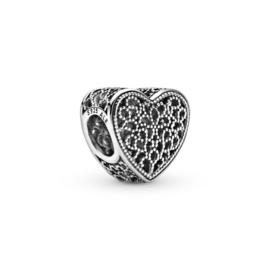 Zilveren bedel filigrain hart