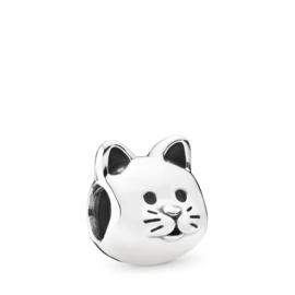 Zilveren bedel kat / poes