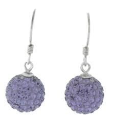 Zilveren hang oorbellen strass licht paars